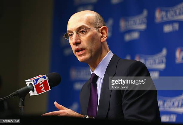 Adam Silver the NBA Commissioner talks to the media before the start of the Oklahoma City Thunder game against the Memphis Grizzlies in Game 4 of the...