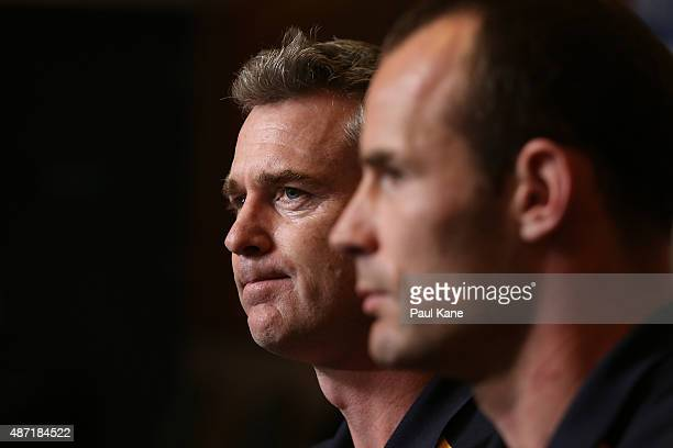 Adam Simpson and Shannon Hurn of the West Coast Eagles speak to the media during the AFL Finals Series Launch press conference at Domain Stadium on...