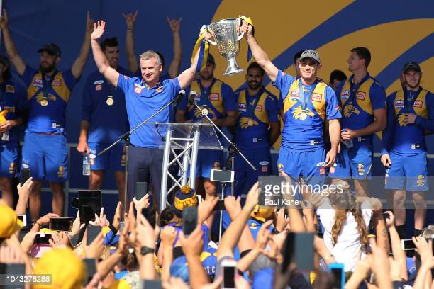 Adam Simpson and Shannon Hurn show the premiership cup to the fans after winning yesterday's AFL Grand Final at Langley Park on September 30 2018 in...