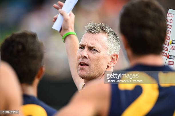 Adam Simpson coach of the Eagles addresses the team at quarter time during the 2016 NAB Challenge match between the West Coast Eagles and the Gold...