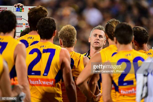 Adam Simpson coach of the Eagles addresses the team at quarter time during the 2016 AFL Round 04 match between the West Coast Eagles and the Richmond...