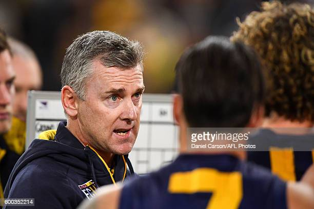 Adam Simpson coach of the Eagles addresses the team at quarter time during the 2016 AFL Second Elimination Final match between the West Coast Eagles...
