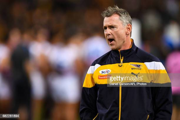 Adam Simpson coach of the Eagles addresses the team at quarter time during the 2017 AFL round 08 match between the West Coast Eagles and the Western...
