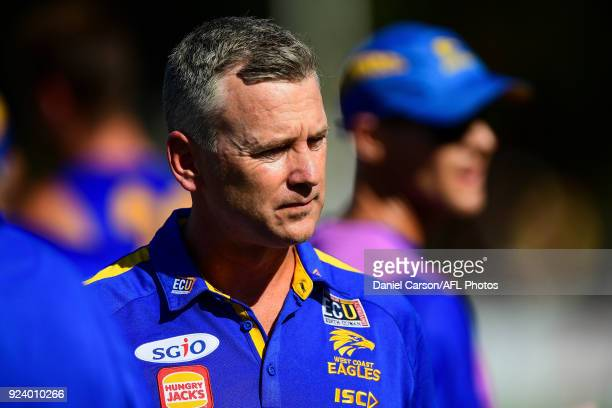 Adam Simpson coach of the Eagles addresses the team at quarter time during the AFL 2018 JLT Community Series match between the West Coast Eagles and...