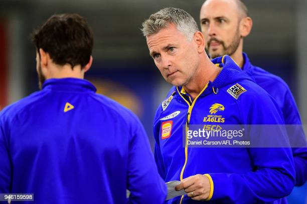 Adam Simpson coach of the Eagles addresses the team at quarter time during the 2018 AFL Round 04 match between the West Coast Eagles and the Gold...