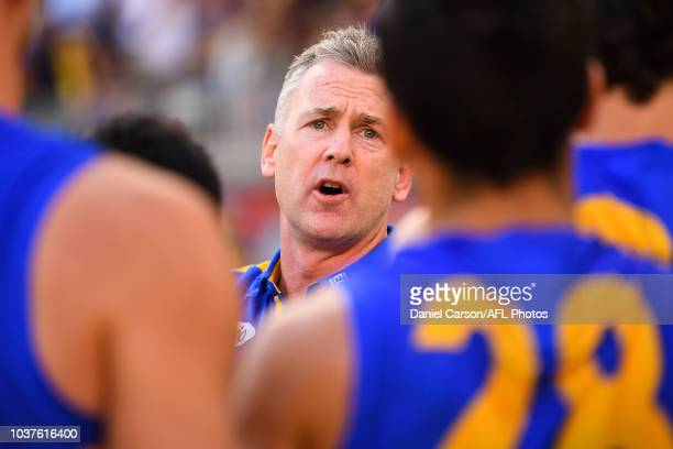 Adam Simpson coach of the Eagles addresses the team at three quarter time during the 2018 AFL Second Preliminary Final match between the West Coast...