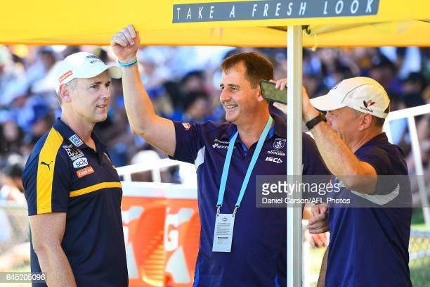 Adam Simpson coach of the Eagles and Ross Lyon of the Dockers talk during the AFL 2017 JLT Community Series match between the West Coast Eagles and...