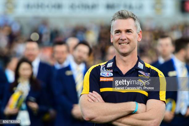 Adam Simpson coach of the Eagles is happy with the win during the 2017 AFL round 23 match between the West Coast Eagles and the Adelaide Crows at...