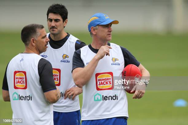 Adam Simpson coach of the Eagles looks on during a West Coast Eagles AFL training session at Subiaco Oval on November 19 2018 in Perth Australia