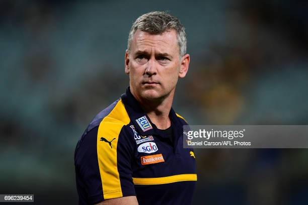 Adam Simpson coach of the Eagles looks on during the 2017 AFL round 13 match between the West Coast Eagles and the Geelong Cats at Domain Stadium on...