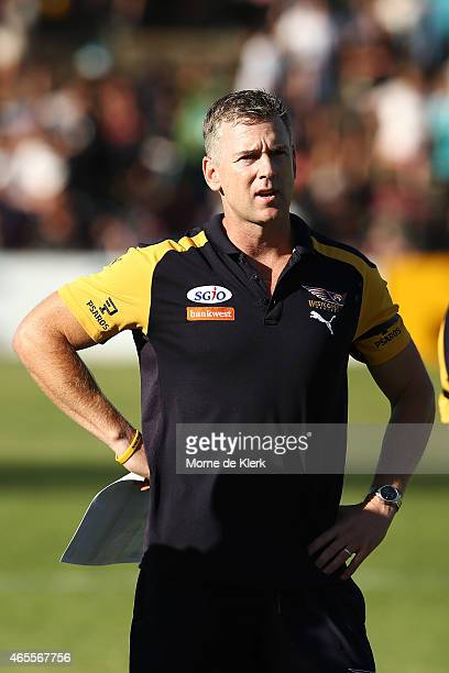 Adam Simpson coach of the Eagles looks on during the NAB Challenge match between the Port Adelaide Power and the West Coast Eagles at Norwood Oval on...