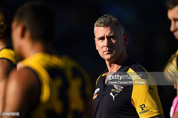 Adam Simpson coach of the West Coast Eagles in the team huddle at quartter time during the round nine AFL match between the West Coast Eagles and the...