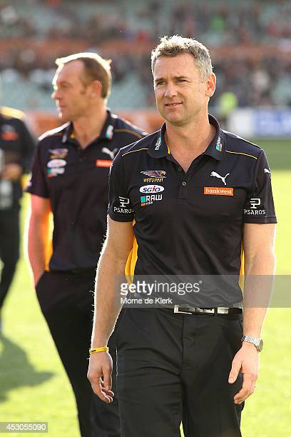 Adam Simpson of the Eagles looks on after the round 19 AFL match between the Adelaide Crows and the West Coast Eagles at Adelaide Oval on August 2...