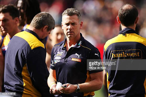 Adam Simpson of the Eagles looks on during the round 19 AFL match between the Adelaide Crows and the West Coast Eagles at Adelaide Oval on August 2...
