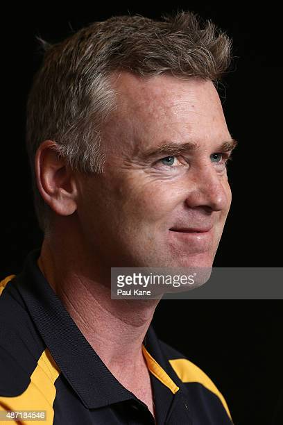 Adam Simpson of the West Coast Eagles speaks to the media during the AFL Finals Series Launch press conference at Domain Stadium on September 7 2015...