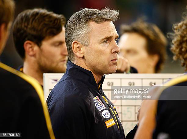 Adam Simpson Senior Coach of the Eagles addresses his players during the 2016 AFL Round 19 match between the Collingwood Magpies and the West Coast...