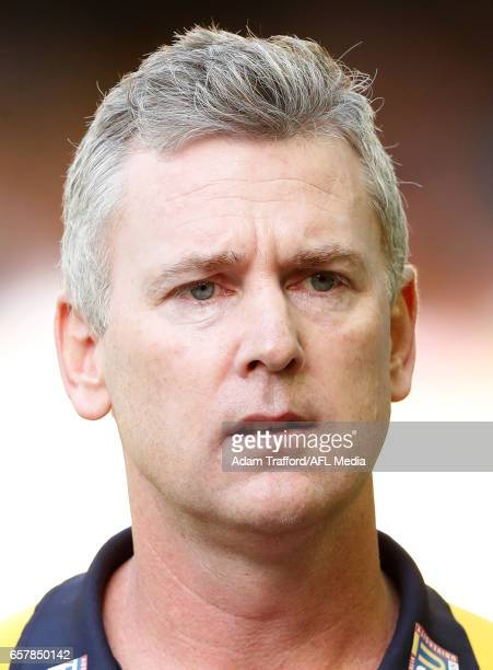 Adam Simpson Senior Coach of the Eagles addresses his players during the 2017 AFL round 01 match between the North Melbourne Kangaroos and the West...