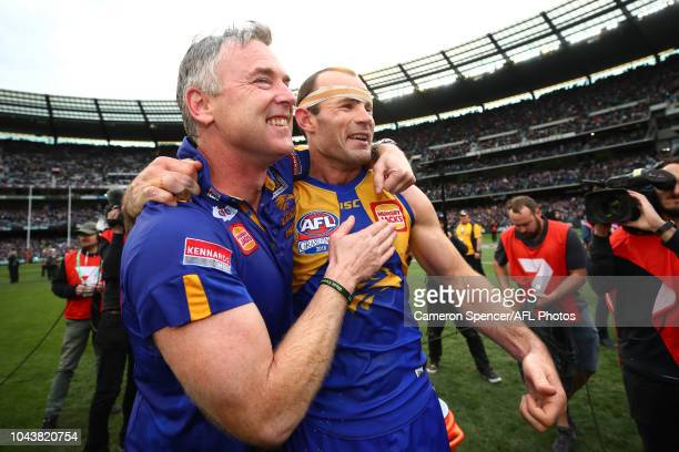 Adam Simpson Senior Coach of the Eagles celebrates winning the Premiership with Eagles captain Shannon Hurn during the 2018 Toyota AFL Grand Final...