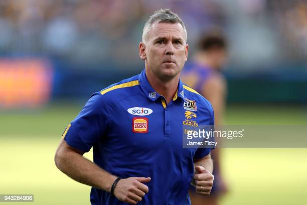 Adam Simpson Senior Coach of the Eagles during the round three AFL match between the West Coast Eagles and the Geelong Cats at Optus Stadium on April...