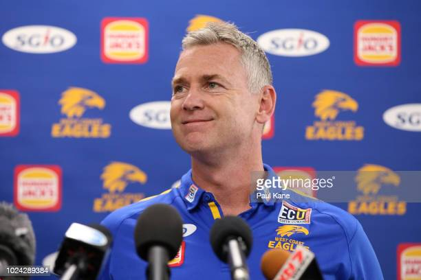 Adam Simpson speaks to the media during a West Coast Eagles AFL media opportunity at Subiaco Oval on August 27 2018 in Perth Australia