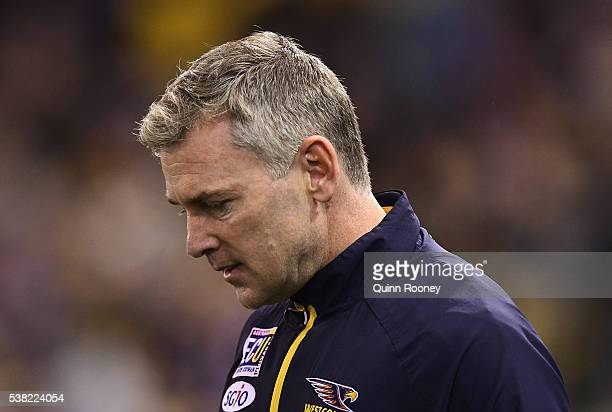 Adam Simpson the coach of the Eagles looks on during the round 11 AFL match between the Western Bulldogs and the West Coast Eagles at Etihad Stadium...