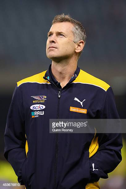 Adam Simpson the coach of the Eagles looks on during the round 21 AFL match between the Essendon Bombers and the West Coast Eagles at Etihad Stadium...