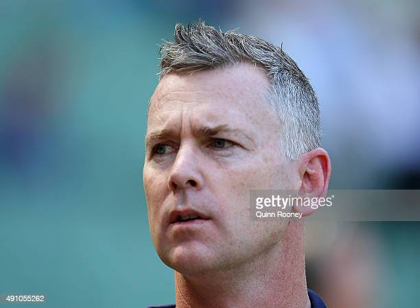 Adam Simpson the coach of the Eagles on during the 2015 AFL Grand Final match between the Hawthorn Hawks and the West Coast Eagles at Melbourne...