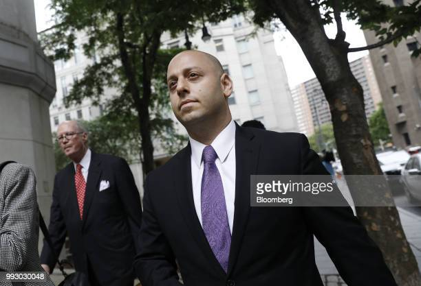 Adam Skelos son of former New York State Senate Majority Leader Dean Skelos exits federal court in New York US on Friday July 6 2018 Prosecutors say...