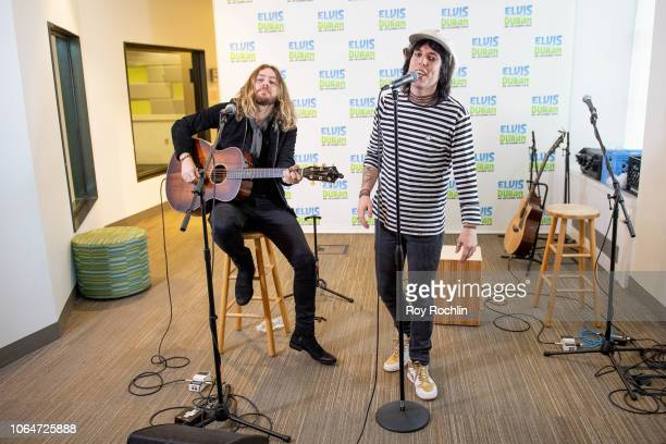 Adam Slack and Luke Spiller of The Struts perform as they visit the Elvis Duran show at Z100 Studio on November 07 2018 in New York City