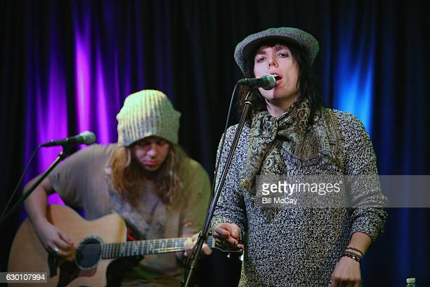 Adam Slack and Luke Spiller of The Struts perform at the Radio 1045 Performance Theater December 16 2016 in Bala Cynwyd Pennsylvania