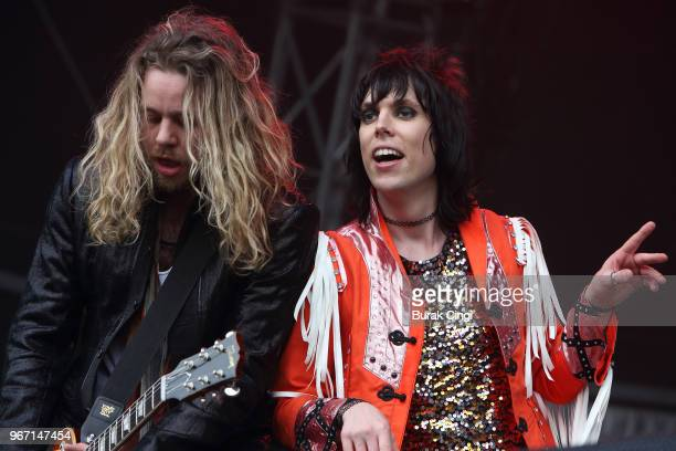 Adam Slack and Luke Spiller of The Struts perform on day 3 of the Governors Ball music festival at Randall's Island Park on June 3 2018 in New York
