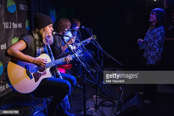 Adam Slack Gethin Davies Jed Elliott and Luke Spiller of The Struts perform an EndSession hosted by 1077 The End in studio on November 9 2015 in...