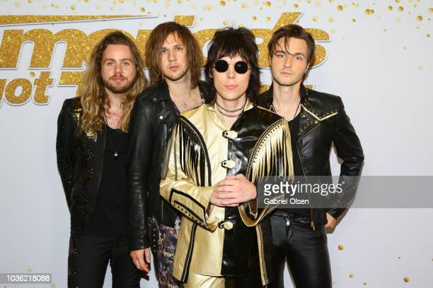 Adam Slack Gethin Davies Luke Spiller and Jed Elliott of The Struts attend the 'America's Got Talent' Season 13 Finale Live Show red carpet at Dolby...