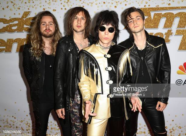 Adam Slack Gethin Davies Luke Spiller and Jed Elliott of The Struts attends 'America's Got Talent' Season 13 Finale Live Show Red Carpet at the Dolby...