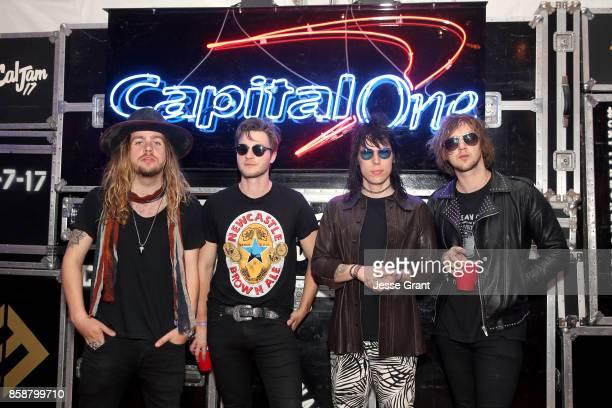 Adam Slack Jed Elliott Luke Spiller and Gethin Davies of The Struts at the Capital One Cardholder Lounge during Cal Jam 17 at Glen Helen Regional...