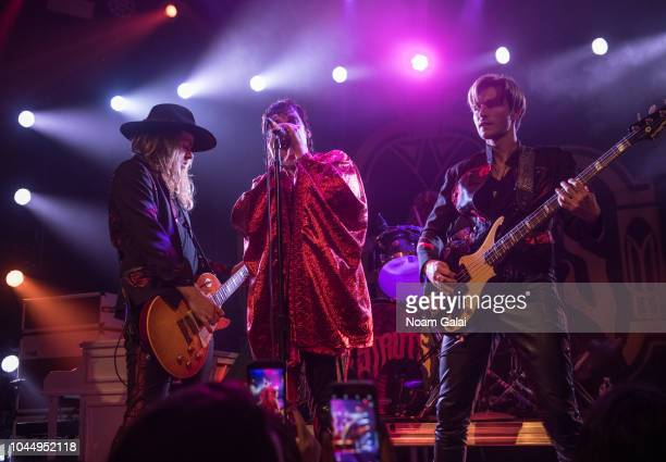 Adam Slack Luke Spiller and Jed Elliott of The Struts perform in concert at Bowery Ballroom on October 2 2018 in New York City