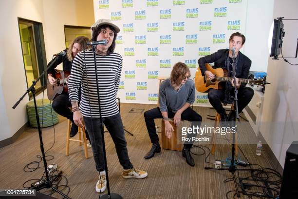Adam Slack Luke Spiller Gethin Davies and Jed Elliott of The Struts perform as they visit the Elvis Duran show at Z100 Studio on November 07 2018 in...
