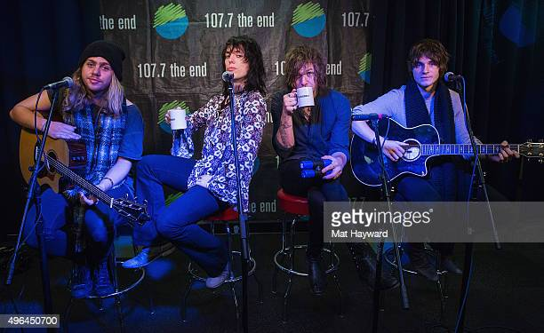 Adam Slack Luke Spiller Gethin Davies and Jed Elliott of The Struts pose for a photo before performing an EndSession hosted by 1077 The End in studio...