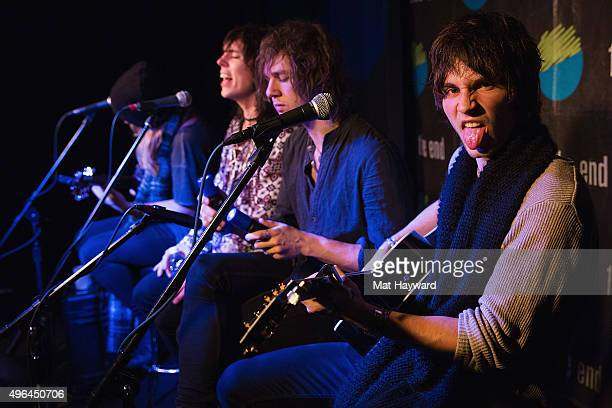 Adam Slack Luke Spiller Gethin Davies and Jed Elliott of The Struts perform an EndSession hosted by 1077 The End in studio on November 9 2015 in...