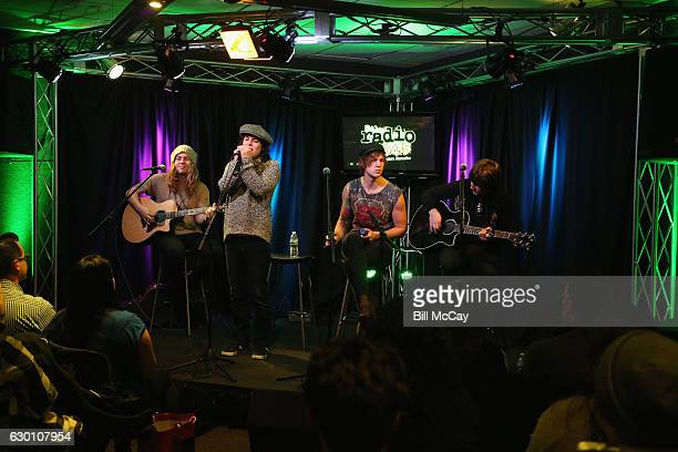 Adam Slack Luke Spiller Gethin Davies and Jed Elliott of The Struts perform at the Radio 1045 Performance Theater December 16 2016 in Bala Cynwyd...