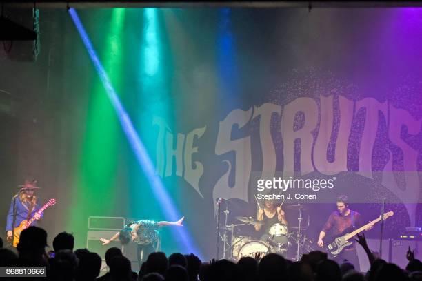 Adam Slack Luke Spiller Gethin Davies and Jed Elliott of The Struts performs at Mercury Ballroom on October 31 2017 in Louisville Kentucky
