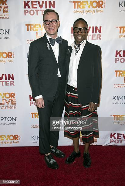 Adam Smith and Billy Porter attend the 2016 TrevorLive New York event at Marriott Marquis Times Square on June 13 2016 in New York City