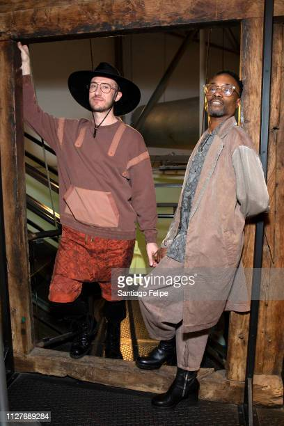 Adam Smith and NYFW Men's Ambassador Billy Porter attend New York Fashion Week Men's at Pier 59 Studios on February 05 2019 in New York City