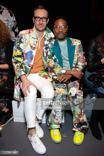 Adam Smith and NYFW Men's Ambassador Billy Porter attend 'Wan Hung' show at Pier 59 Studios on February 05 2019 in New York City