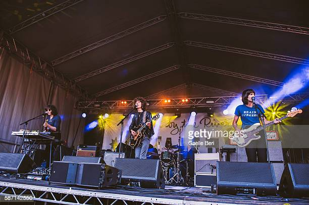Adam Smith James Bagshaw and Thomas Warmsley of Temples perform during the Caught By The River Thames festival at Fulham Palace on August 7 2016 in...
