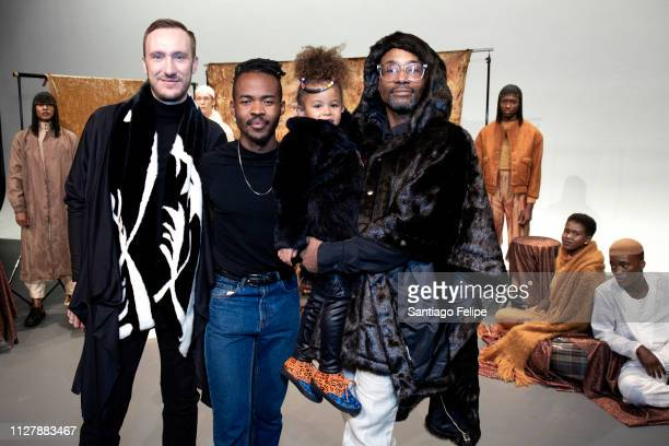 Adam Smith Lukhanyo Mdingi Aria De Chicchis and 'NYFW Men's Ambassador' Billy Porter at 'Lukhanyo Mdingi' Presentation at Pier 59 Studios on February...