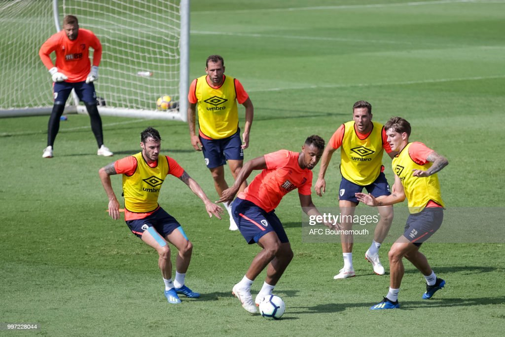 Adam Smith, Lys Mousset, Dan Gosling and Connor Mahoney of Bournemouth during training session at the clubs pre-season training camp at La Manga, Spain on July 12, 2018 in La Manga, Spain.