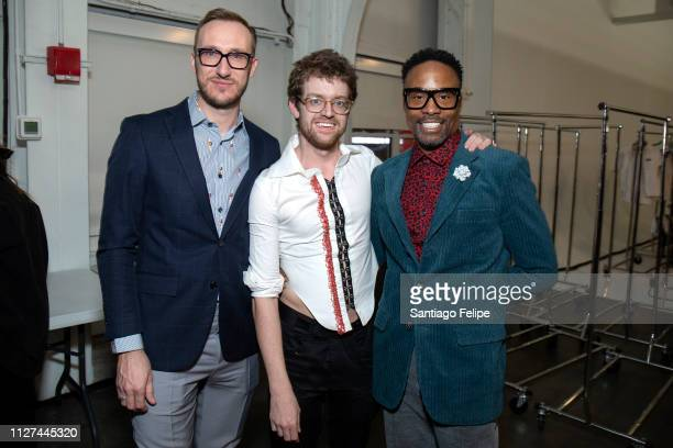Adam Smith Neil Patrick Grotzinger and NYFW Men's Ambassador Billy Porter at Pier 59 Studios on February 04 2019 in New York City