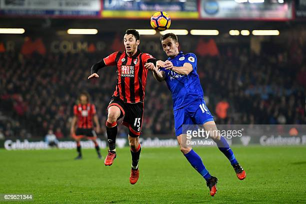 Adam Smith of AFC Bournemouth and Andy King of Leicester City compete for the ball during the Premier League match between AFC Bournemouth and...