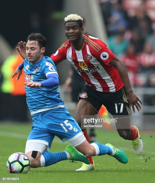 Adam Smith of AFC Bournemouth and Dider N'dong of Sunderland in action during the Premier League match between Sunderland and AFC Bournemouth at the...